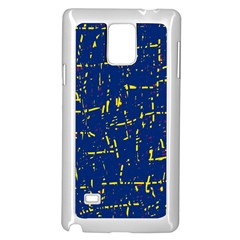 Deep blue and yellow pattern Samsung Galaxy Note 4 Case (White)