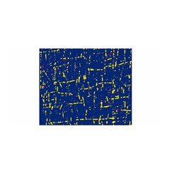 Deep blue and yellow pattern Satin Wrap
