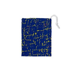 Deep blue and yellow pattern Drawstring Pouches (XS)