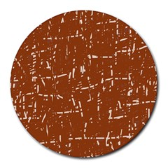Brown elelgant pattern Round Mousepads