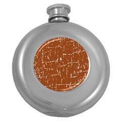 Brown elelgant pattern Round Hip Flask (5 oz)