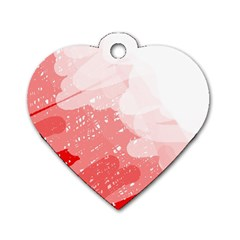 Red pattern Dog Tag Heart (One Side)