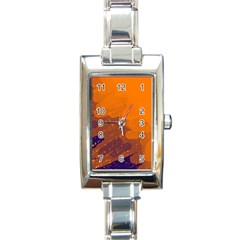 Orange and blue artistic pattern Rectangle Italian Charm Watch