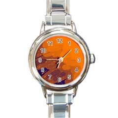 Orange and blue artistic pattern Round Italian Charm Watch