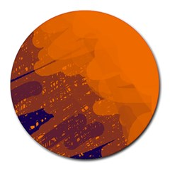 Orange and blue artistic pattern Round Mousepads