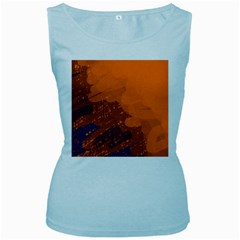 Orange and blue artistic pattern Women s Baby Blue Tank Top