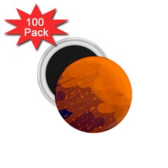 Orange and blue artistic pattern 1.75  Magnets (100 pack)