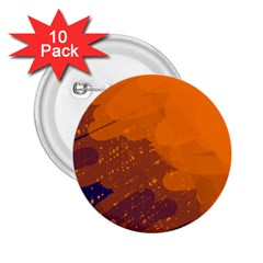 Orange and blue artistic pattern 2.25  Buttons (10 pack)
