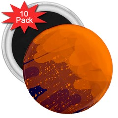 Orange and blue artistic pattern 3  Magnets (10 pack)