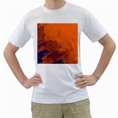 Orange and blue artistic pattern Men s T-Shirt (White) (Two Sided)