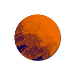 Orange and blue artistic pattern Rubber Round Coaster (4 pack)