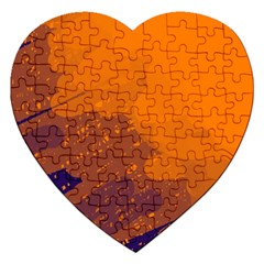 Orange and blue artistic pattern Jigsaw Puzzle (Heart)