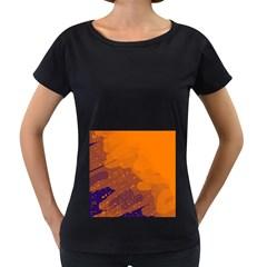 Orange and blue artistic pattern Women s Loose-Fit T-Shirt (Black)
