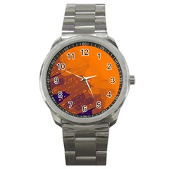 Orange and blue artistic pattern Sport Metal Watch