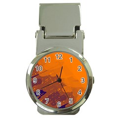 Orange and blue artistic pattern Money Clip Watches