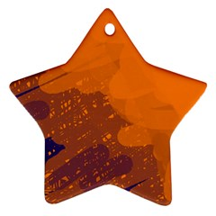 Orange and blue artistic pattern Star Ornament (Two Sides)