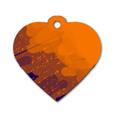 Orange and blue artistic pattern Dog Tag Heart (Two Sides)