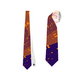 Orange and blue artistic pattern Neckties (Two Side)