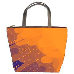 Orange and blue artistic pattern Bucket Bags