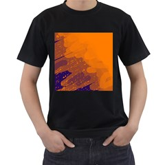 Orange and blue artistic pattern Men s T-Shirt (Black)