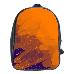 Orange and blue artistic pattern School Bags(Large)