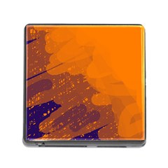 Orange and blue artistic pattern Memory Card Reader (Square)