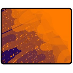 Orange and blue artistic pattern Fleece Blanket (Medium)