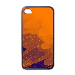 Orange and blue artistic pattern Apple iPhone 4 Case (Black)
