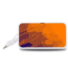 Orange and blue artistic pattern Portable Speaker (White)