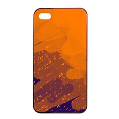 Orange and blue artistic pattern Apple iPhone 4/4s Seamless Case (Black)