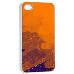 Orange and blue artistic pattern Apple iPhone 4/4s Seamless Case (White)