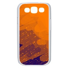 Orange and blue artistic pattern Samsung Galaxy S III Case (White)