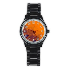 Orange and blue artistic pattern Stainless Steel Round Watch