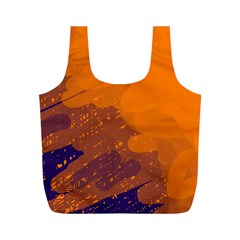 Orange and blue artistic pattern Full Print Recycle Bags (M)