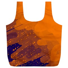 Orange and blue artistic pattern Full Print Recycle Bags (L)