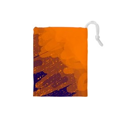 Orange and blue artistic pattern Drawstring Pouches (Small)