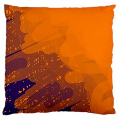 Orange and blue artistic pattern Large Flano Cushion Case (Two Sides)