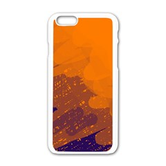 Orange and blue artistic pattern Apple iPhone 6/6S White Enamel Case