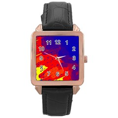 Colorful pattern Rose Gold Leather Watch