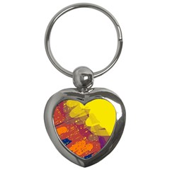 Colorful abstract pattern Key Chains (Heart)