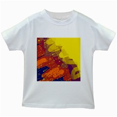 Colorful abstract pattern Kids White T-Shirts