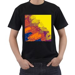 Colorful abstract pattern Men s T-Shirt (Black) (Two Sided)