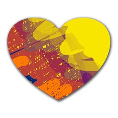 Colorful abstract pattern Heart Mousepads