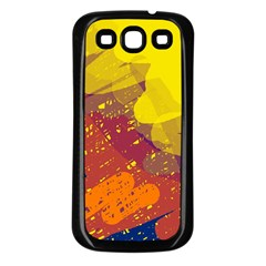 Colorful abstract pattern Samsung Galaxy S3 Back Case (Black)