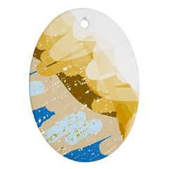 Artistic pastel pattern Oval Ornament (Two Sides)