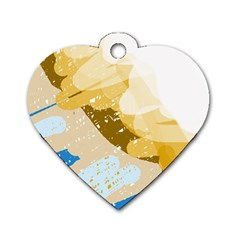 Artistic pastel pattern Dog Tag Heart (One Side)