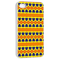 Hearts And Rhombus Pattern                                                                                         apple Iphone 4/4s Seamless Case (white)