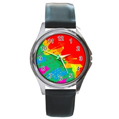 Colorful abstract design Round Metal Watch