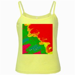 Colorful abstract design Yellow Spaghetti Tank