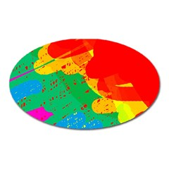 Colorful abstract design Oval Magnet
